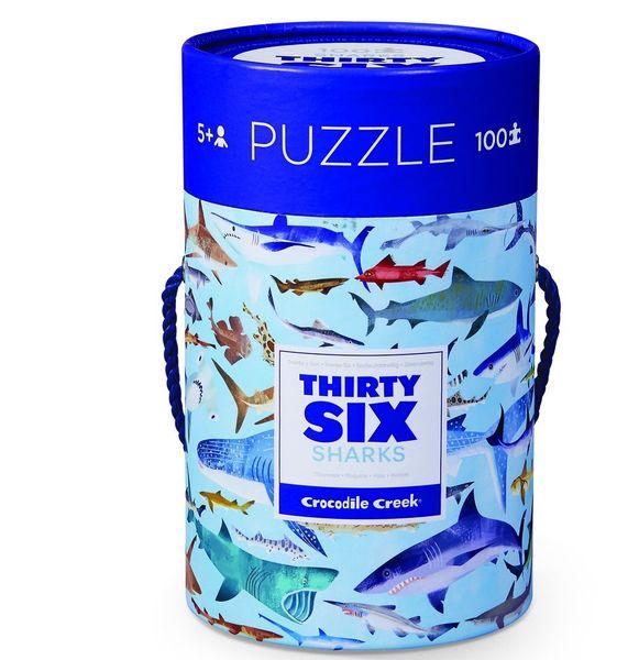 "Пазл в цилиндре ""36 Животных, Акулы"", 100 деталей"