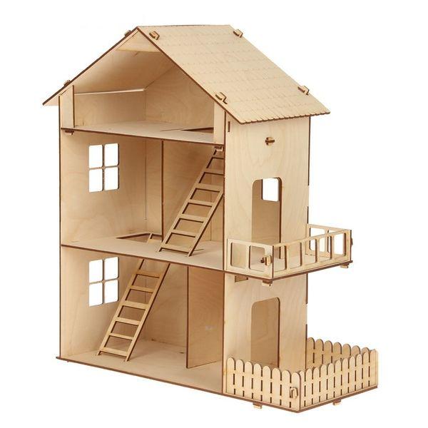 Домик для кукол, 3 этажа, с двориком