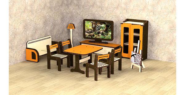 """Кукольная мебель деревянная """"Гостиная"""", 11 предметов"""