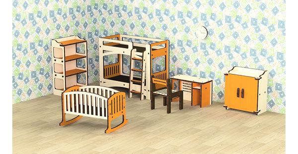 """Кукольная мебель деревянная """"Детская"""", 8 предметов"""