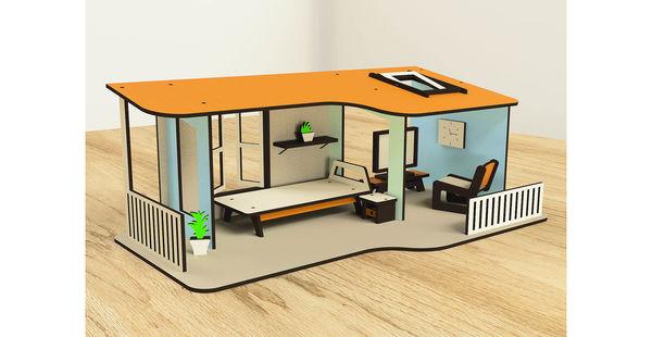 Кукольный домик одноэтажный с мебелью, 9 предметов