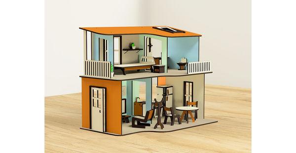 Кукольный домик двухэтажный с мебелью, 19 предметов