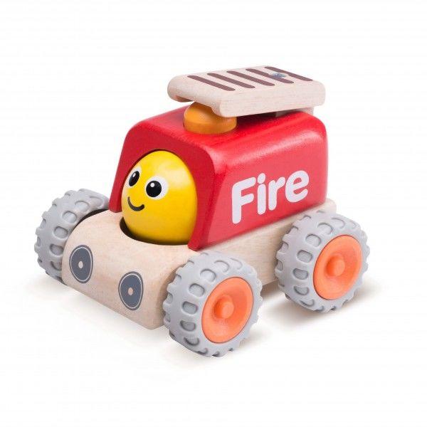 """Деревянная машинка """"Пожарная машина с улыбкой"""""""