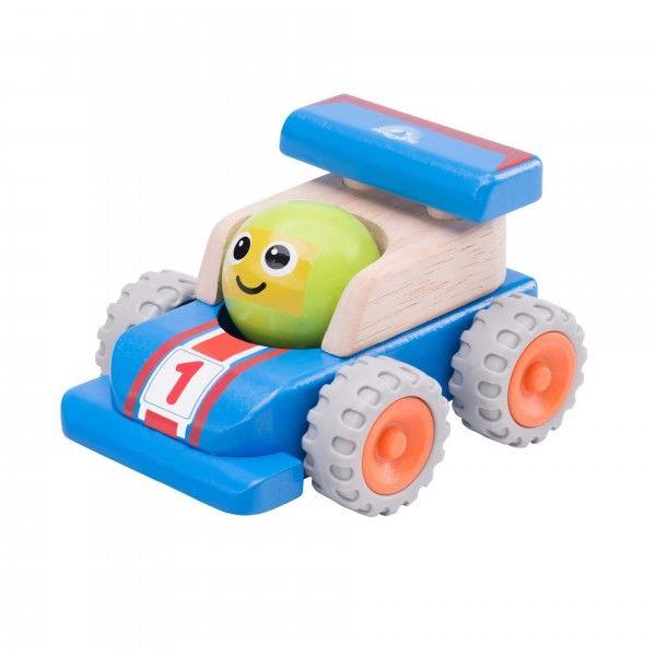 """Деревянная машинка """"Гоночная машина с улыбкой"""""""