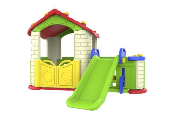 """Игровой домик с забором и горкой, цвет """"Ивори"""""""