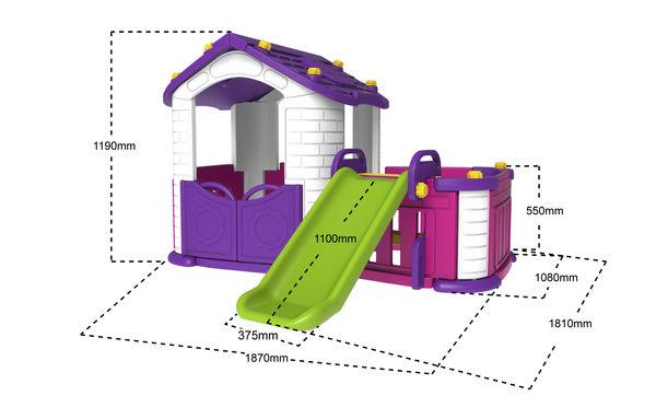 Игровой домик с забором и горкой, цвет фиолетовый