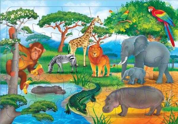 "Пазл на подложке ""В Африке"" 24 детали"