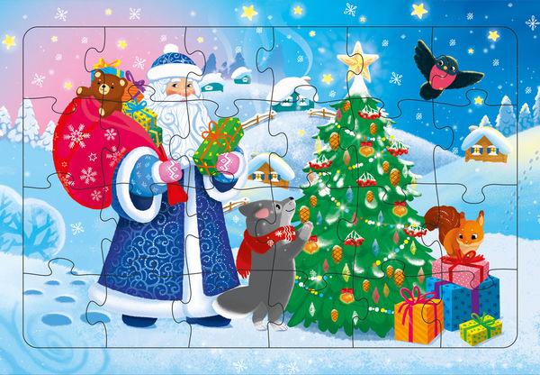"""Пазл на подложке """"Дед Мороз"""" 24 детали"""