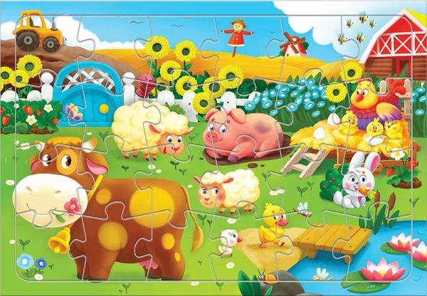 """Пазл на подложке """"Животные на ферме"""" 24 детали"""