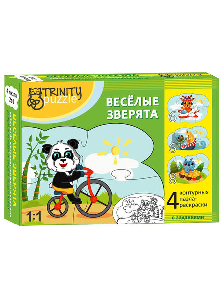 "Контурный пазл ""Весёлые Зверята"""