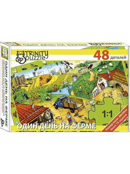 """Развивающий пазл """"Один день на ферме"""", 48 деталей"""