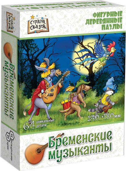Деревянный пазл «Бременские музыканты», 64 детали