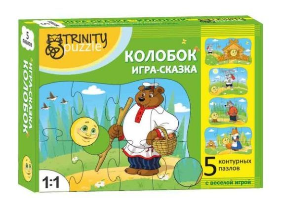 """Контурный пазл """"Колобок"""" 5 в 1"""