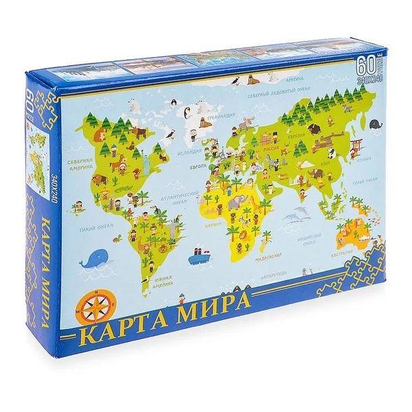 """Пазл """"Карта мира"""", 60 деталей"""