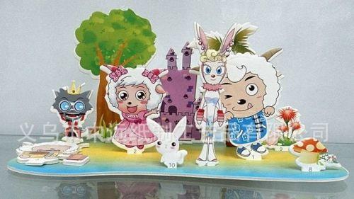 """Объёмный 3D пазл """"Козлята и замок"""" розовый блистер"""