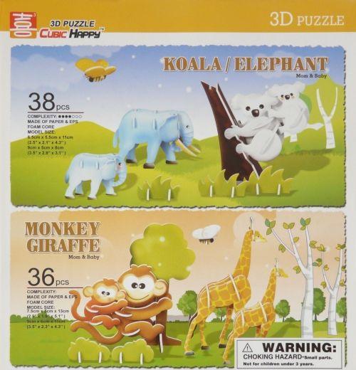 """Объёмный 3D пазл """"Коала/слон и обезьяна/жираф"""""""