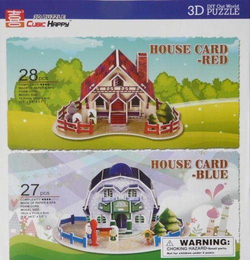 """Объёмный 3D пазл """"Карточные домики: красный и синий"""""""
