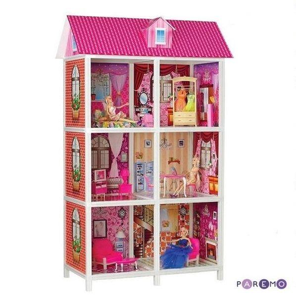 3-этажный кукольный дом с 6 комнатами (мебель, 3 куклы)