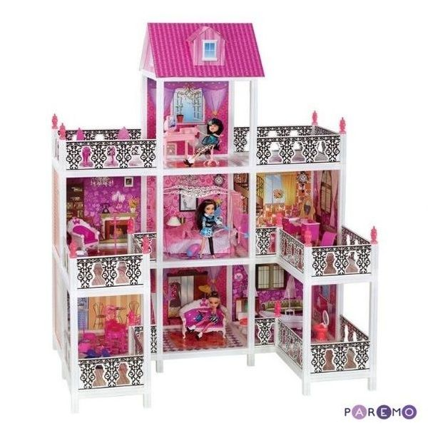 3-этажный кукольный дом с 7 комнатами, (мебель, 3 куклы)