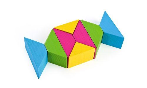 Треугольники цветные, 16 деталей