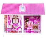 Одноэтажный кукольный дом с 2 комнатами, мебелью и куклой