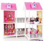 Двухэтажный кукольный дом с 4 комнатами, мебелью и 2 куклами