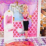Двухэтажный кукольный дом с 3 комнатами, мебелью, 3 куклами