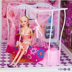 Двухэтажный кукольный домик с 4 комнатами, мебелью, 3 куклами
