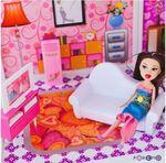 Трехэтажный кукольный дом с 5 комнатами, мебелью, 3 куклами