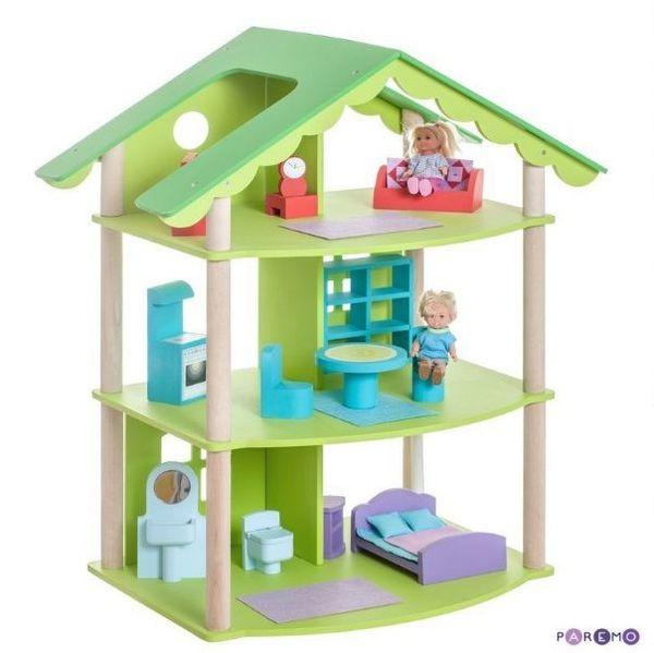 """Трехэтажный кукольный домик """"Фиолент"""", с мебелью"""