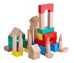 Конструктор деревянный цветной, 50 элементов