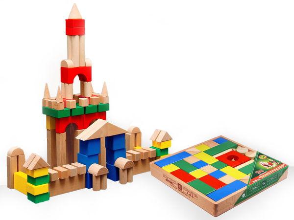 Конструктор деревянный цветной, 90 элементов