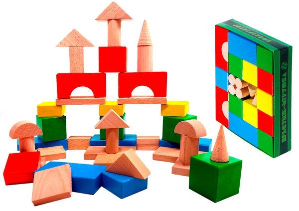 Конструктор деревянный цветной, 42 элемента
