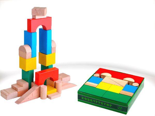 Конструктор деревянный цветной, 30 элементов