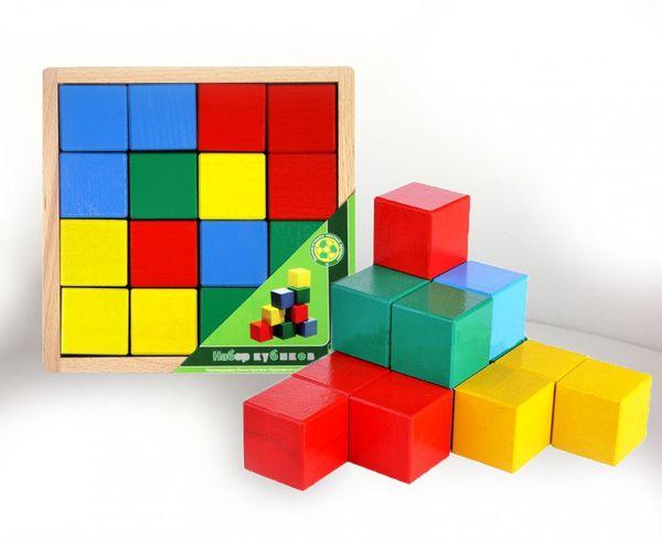 Кубики деревянные цветные, 16 штук