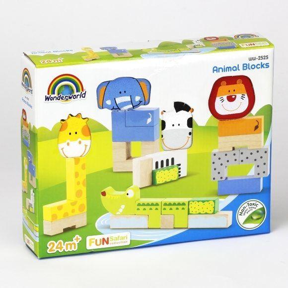 Набор деревянных 3D-блоков для конструирования «Животные»