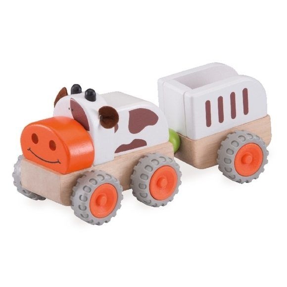 """Деревянная игрушка """"Трактор Му-Му с прицепом"""""""