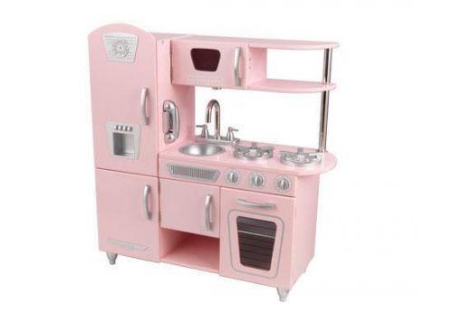 Детская кухня из дерева «Винтаж» розовая